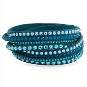 Swarovski Crystals Teal Slake Double Wrap Bracelet